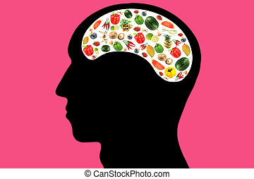 Vegetables and fruits in Head on Pink Background. -...