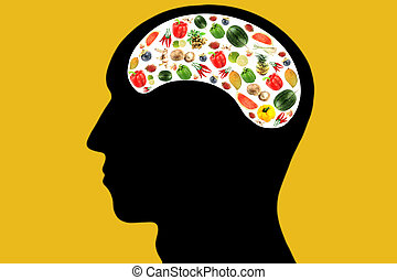 Vegetables and fruits in Head on Yellow Background.