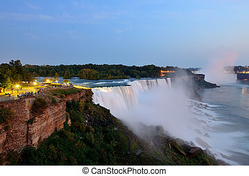 Niagara Falls closeup at dusk - The American Falls from...