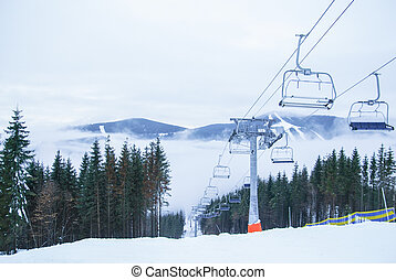 Chairlift and mountain