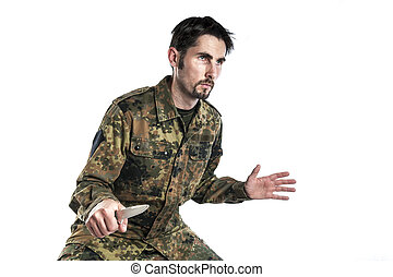 Self defense instructor with knife - Male self defense...