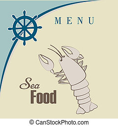 sea food - sea food design over beige background vector...