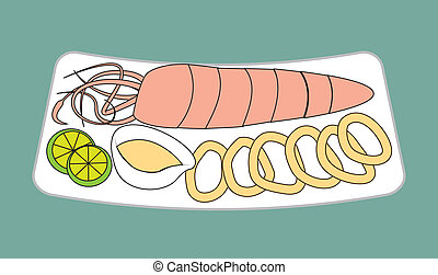 sea food - sea food design over blue background vector...