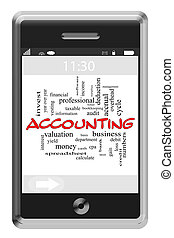 Accounting Word Cloud Concept on Touchscreen Phone -...