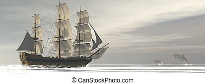 Old merchant ship and dolphins - 3D render - Close up on a...