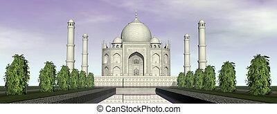Taj Mahal mausoleum, Agra, India - 3D render - Famous Taj...