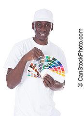 africano, pintor, con, Color, Muestra