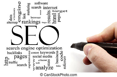 Hand writing in black marker SEO Word Cloud Concept with...