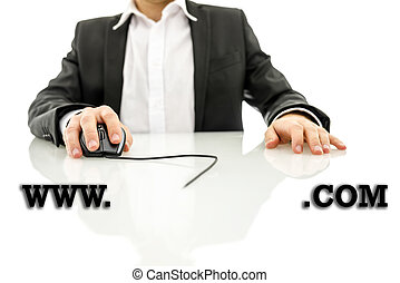 Businessman accessing a web address with the text www -...