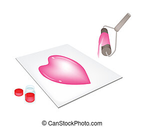 Paint Roller Screen Printing Heart on A Tiles - Love...