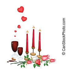 Valentine Candles with Lovely Rose and Wine - Love Concept,...