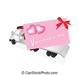 Tractor Trailer Flatbed Loading A Valentine Card - A Flatbed...