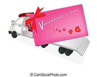 Tractor Trailer Flatbed Sending A Valentine Card - A Flatbed...