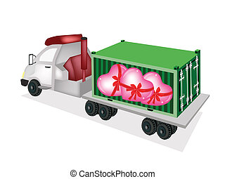 Flatbed Trailer Loading Lovely Hearts in Cargo Container - A...