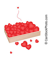 Lovely Little Hearts in A Wooden Container