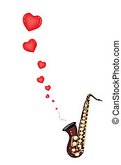 A Musical Bass Saxophone Playing Love Song - Love Concept,...