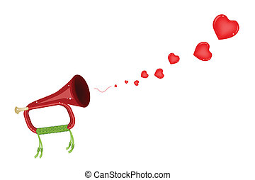 A Musical Bugle Blowing A Lovely Heart - Love Concept, An...