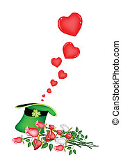 Many Little Hearts in A Green Hat