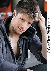 Cute young guy - Portrait of a sexy playful young man