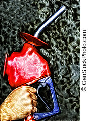 Gas Nozzle Environmental Disaster - Abstract gas nozzle over...