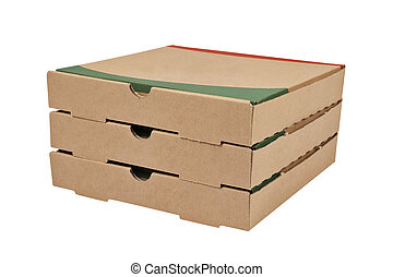 Three pizzas boxes - Three pizzas cardboard boxes isolated...