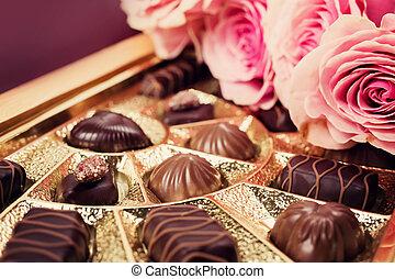 słodki, dar, różny, czekolady, boks