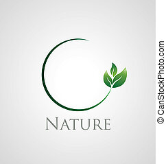 Nature icon - Abstract nature icon with green leaves on a...