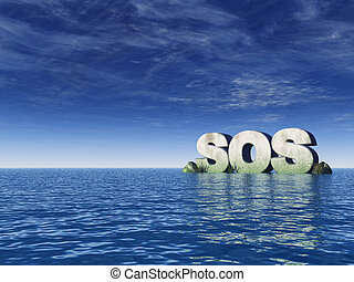 sos - the word sos rock on the ocean - 3d illustration