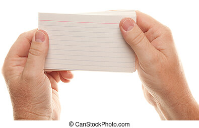 Male Hand Holding Stack of Flash Cards