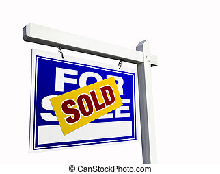 Blue Sold For Sale Real Estate Sign on White.
