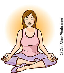 Woman Meditating (Aura) - Woman meditating with an orange...