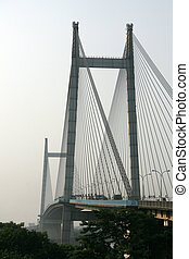Hooghly Bridge, Kolkata, India - Hooghly Bridge, a famous...