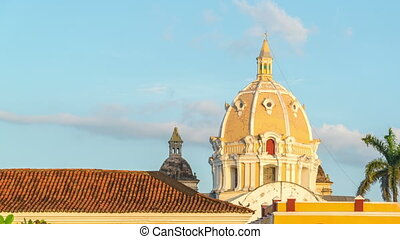 Cartagena Time Lapse - Time lapse of sunset on a church in...