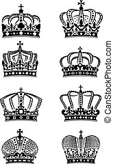 Set of vintage heraldic royal crowns