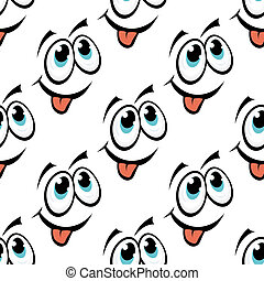 Happy emoticon face seamless pattern - Cute happy repeat...