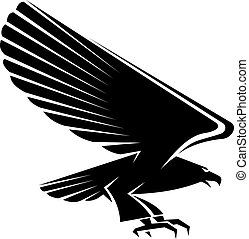 Black eagle tattoo isolated on white background