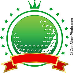 Golfing championship icon or winners banner with a green...