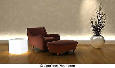 contemporary arm chair and ottoman in moderen setting - 3d...