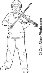 Drawing young violinist - Vector illustration of a young...