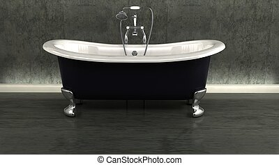 classic roll top bath and taps with shower attatchment in...