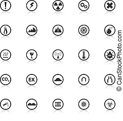 Warning sign icons with reflect on white background