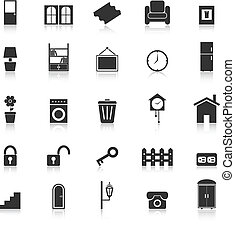 House related icons with reflect on white background, stock...