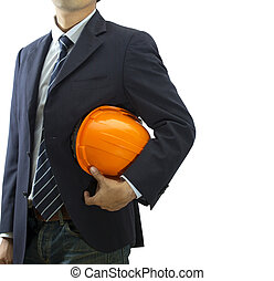 Cropped view of engineer holding helmet on white background...