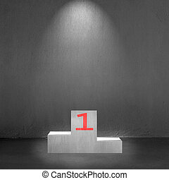 Concrete podium with number 1 on it and spot light