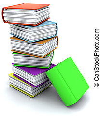 3d charicature render of a stack of books - 3d charicature...