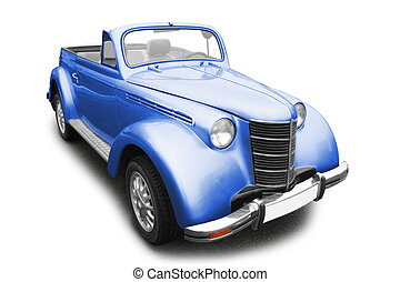 Vintage retro car - Vintage blue car isolated on white...