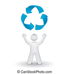 3d person looking up at the recycling symbol isolated white...