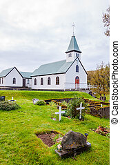 Cemetery and church in Iceland