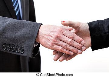 Handshake - Giving hand for exchange greetings, isolated...