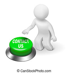 """3d human character pressing a button """"contact us"""""""